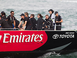 AUCKLAND- NZ- 11-APR-2014: The Duke and Duchess of Cambridge visit  Auckland New Zealand. Prince William and Kate raced against each other in  two of the Americas Cup Team New Zealand yachts around Auckland Harbour.<br /> Photograph by Ian Jones
