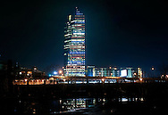 PHILADELPHIA, PA - JANUARY 12:  The Cira Centre is lit up in NBC peacock colors January 12, 2012 in Philadelphia, Pennsylvania. Landmarks around the country lit up in Today Show and NBC colors to commemorate the 60th Anniversary of the Today Show.(Photo by William Thomas Cain/cainimages.com for Today)