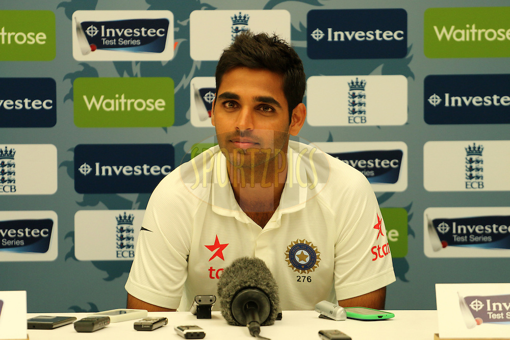 Bhuvaneshwar Kumar of India addresses the media during day two of the third Investec Test Match between England and India held at The Ageas Bowl cricket ground in Southampton, England on the 28th July 2014<br /> <br /> Photo by Ron Gaunt / SPORTZPICS/ BCCI