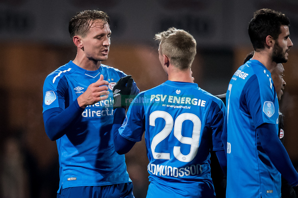 (L-R) Luuk de Jong of PSV, Albert Gudmundsson of PSV during the Dutch Eredivisie match between Heracles Almelo and PSV Eindhoven at Polman stadium on January 21, 2018 in Almelo, The Netherlands