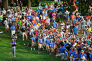Jason Day hits his second shot on the seventeenth hole during the final round of The Barclays Championship held at Plainfield Country Club in Edison, New Jersey on August 30.
