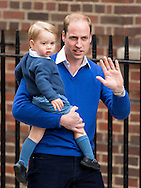 Prince William, Duke of Cambridge and Prince George arrive at St Mary's Hospital in London