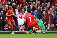 Raheem Sterling of Liverpool celebrates scoring to make it 5-0 with Luis Suarez of Liverpool during the Barclays Premier League match at Anfield, Liverpool<br /> Picture by David Horn/Focus Images Ltd +44 7545 970036<br /> 08/02/2014