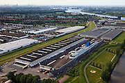 Nederland, Zuid-Holland, Ridderkerk, 23-05-2011; Noord en Nieuwe Maas. Boon distibutiecentrum in de vorm van oceaanstomer. Distribution center, building in the form of ocean steamer at the Nieuwe Maas..luchtfoto (toeslag), aerial photo (additional fee required).copyright foto/photo Siebe Swart