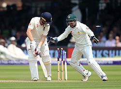 England's Mark Stoneman is bowled by Pakistan's Shadab Khan during day three of the First NatWest Test Series match at Lord's, London.