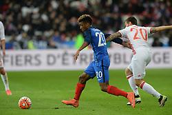 29.03.2016, Stade de France, St. Denis, FRA, Testspiel, Frankreich vs Russland, im Bild coman kingsley, smolov fedor - 20 - // during the International Friendly Football Match between France and Russia at the Stade de France in St. Denis, France on 2016/03/29. EXPA Pictures © 2016, PhotoCredit: EXPA/ Pressesports/ Jerome Prevost<br /> <br /> *****ATTENTION - for AUT, SLO, CRO, SRB, BIH, MAZ, POL only*****