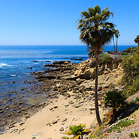 Photo of Laguna Beach California shoreline along the Pacific Ocean. Laguna Beach is a seaside beach community in Orange County Southern California. Photo was taken in May 2012.