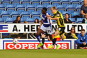 Chesterfield FC miffielder Gboly Ariyibi and Burton Albion defender Damien McCrory challenge for the ball during the Sky Bet League 1 match between Chesterfield and Burton Albion at the Proact stadium, Chesterfield, England on 26 September 2015. Photo by Aaron Lupton.