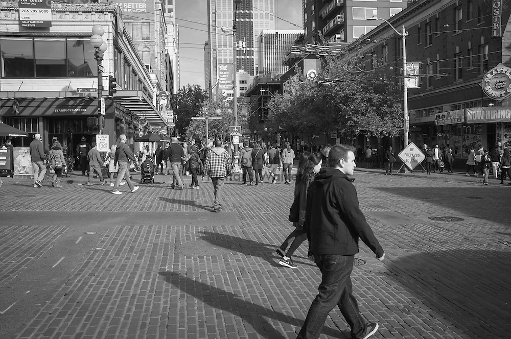 2016 October 22 - Street scene along First Avenue looking East, at entrance to Pike Place Market, Seattle, WA, USA. By Richard Walker