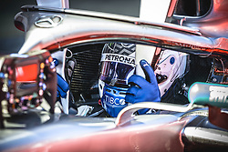 May 12, 2019 - Barcelona, Catalonia, Spain - VALTTERI BOTTAS (FIN) from team Mercedes  looks on in his in his W10 after finishing second at the Spanish GP on the podium at the Circuit de Barcelona - Catalunya (Credit Image: © Matthias Oesterle/ZUMA Wire)