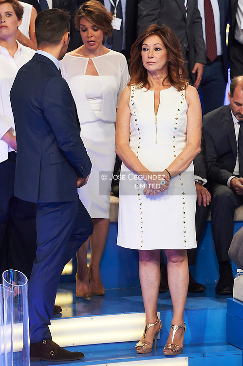 Ana Rosa Quintana, Jesus Vazquez visit Telecinco TV Studios for their 25 anniversary on July 9, 2015 in Madrid