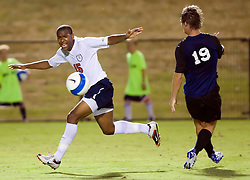 Virginia Cavaliers defender Robby Rogers (15) reacts after being called for a foul.  The Virginia Cavaliers defeated the Old Dominion Monarchs 3-0 in a pre-season NCAA Men's Soccer exhibition game held at Klockner Stadium on the Grounds of the University of Virginia in Charlottesville, VA on August 23, 2008.