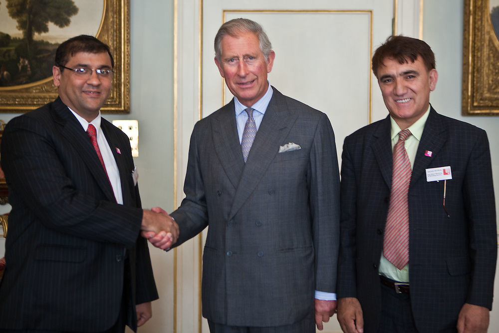 HRH The Prince of Wales with Hafiz Sherali and Qayum Alishah of Aga Khan Planning and Building Services, Pakistan