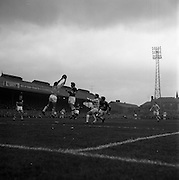 26/04/1964<br /> 04/26/1964<br /> 26 April 1964<br /> F.A.I. Cup Final: Shamrock Rovers v Cork Celtic at Dalymount Park, Dublin. The game ended 1-1 and went to a replay that Rovers won. Cork goalie Blount saves.