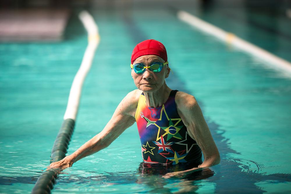 YAMAGUCHI, JAPAN - AUGUST 4: 103-year-old Mieko Nagaoka is seen training in Yanai Swimming School, Yanai City, Yamaguchi prefecture, Japan on August 4, 2017. (Photo: Richard Atrero de Guzman/NUR Photo)