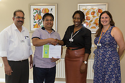 Care UK's Franklin House care home in West Drayton, London, has been awarded a Two Years Pressure Prevention Award from North West London NHS Foundation, in collaboration with Hillingdon TVN Team and Hillingdon CCG. Laundry Assistant Joseph Hilo receives his award for 5 years' service. London, July 11 2019.