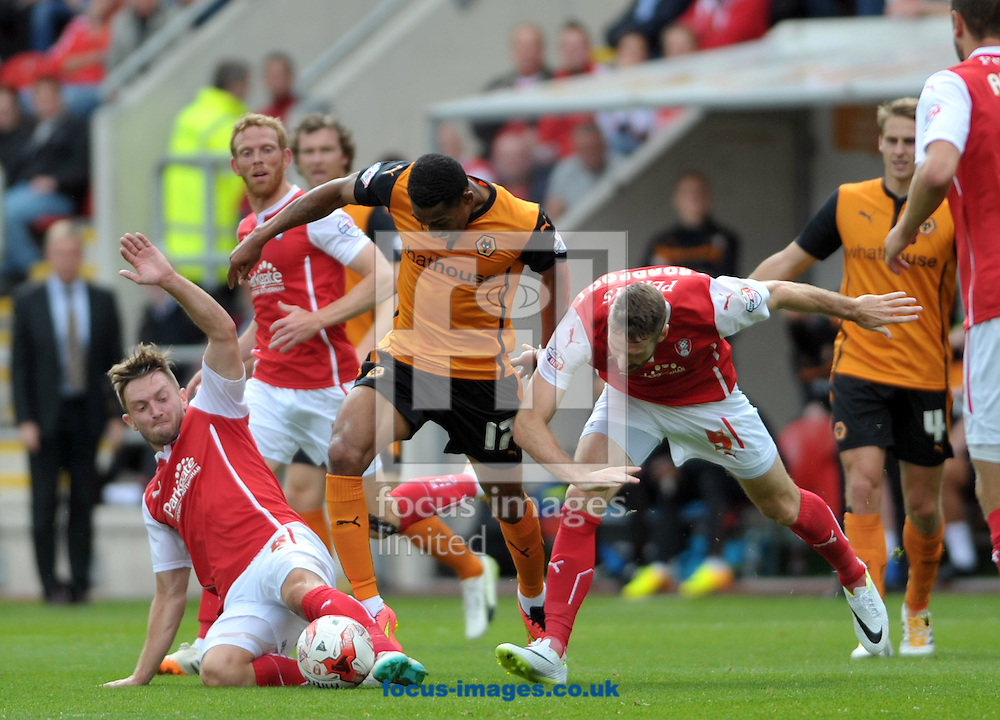 Kirk Broadfoot &amp; Lee Frecklington of Rotherham United tackle Rajiv Van La Parra of Wolverhampton Wanderers during the Sky Bet Championship match at the New York Stadium, Rotherham<br /> Picture by Graham Crowther/Focus Images Ltd +44 7763 140036<br /> 16/08/2014
