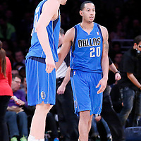 04 April 2014: Dallas Mavericks forward Dirk Nowitzki (41) talks to Dallas Mavericks guard Devin Harris (20) during the Dallas Mavericks 107-95 victory over the Los Angeles Lakers at the Staples Center, Los Angeles, California, USA.