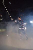 KELOWNA, CANADA - SEPTEMBER 25: Tanner Wishnowski #9 of Kelowna Rockets enters the ice during the season home opener against the Kamloops Blazers on September 25, 2015 at Prospera Place in Kelowna, British Columbia, Canada.  (Photo by Marissa Baecker/Shoot the Breeze)  *** Local Caption *** Tanner Wishnowski;