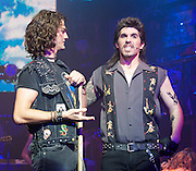 Rock of Ages<br /> by Chris D'Arienzo<br /> directed by Kristin Hanggi<br /> Choreography by Kelly Devine<br /> Press photocall<br /> 14th September 2011 <br /> at The Shaftesbury Theatre, London, Great Britain <br /> <br /> <br /> Simon Lipkin (as Lonny)<br /> Oliver Tompsett (as Drew)<br /> <br /> Photograph by Elliott Franks