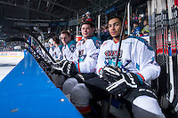 KELOWNA, CANADA - MARCH 21: Cole Linaker #26, Chance Braid #22 and Tyrell Goulbourne #12 of Kelowna Rockets sit on the bench at the start of the game against the Vancouver Giants on March 21, 2015 at Prospera Place in Kelowna, British Columbia, Canada.  (Photo by Marissa Baecker/Shoot the Breeze)  *** Local Caption *** Chance Braid; Cole Linaker; Tyrell Goulbourne;