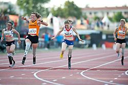 KAMLISH Sophie, van RHIJN Marlou, LE FUR Marie-Amelie, van GANSEWINKEL Marlene, GBR, NED, FRA, 100m, T54, 2013 IPC Athletics World Championships, Lyon, France