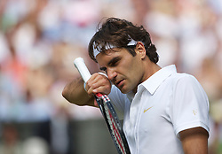 LONDON, ENGLAND - Wednesday, June 30, 2010: Roger Federer (SUI) looks dejected as he loses during the Gentlemen's Singles Quarter-Final on day nine of the Wimbledon Lawn Tennis Championships at the All England Lawn Tennis and Croquet Club. (Pic by David Rawcliffe/Propaganda)