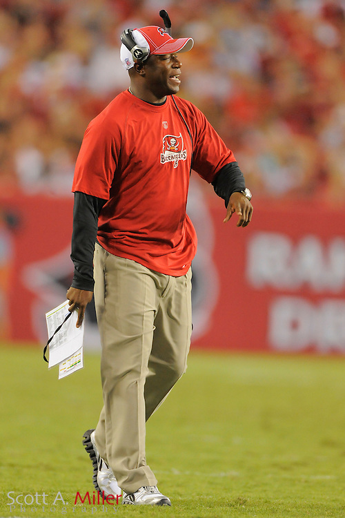 Tampa Bay Buccaneers head coach Raheem Morris during the Bucs game against the Miami Dolphins at Raymond James Stadium on Aug. 27, 2011 in Tampa, Fla...©2011 Scott A. Miller