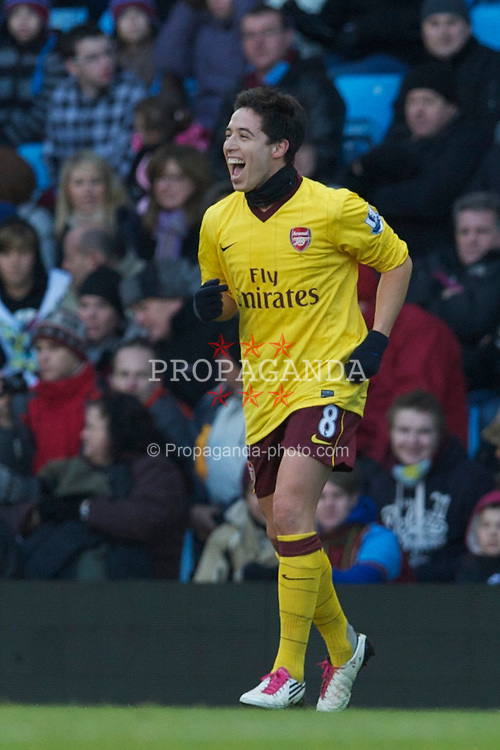 BIRMINGHAM, ENGLAND - Saturday, November 27, 2010: Arsenal's Samir Nasri celebrates scoring the second goal against Aston Villa during the Premiership match at Villa Park. (Pic by: David Rawcliffe/Propaganda)