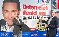 11.04.2014, Medienzentrum, Wien, AUT, FPOe, Plakatpraesentation zur EU-Wahl. im Bild v.l.n.r. FPOe Generalsekretaer und Wahlkampfleiter Herbert Kickl und FPOe Spitzenkandidat zur EU Wahl Harald Vilimsky // f.l.t.r. Member of Parliament FPOe Herbert Kickl and FPOe Topcandidate for EU Election Harald Vilimsky during presentation of placards for EU Election at FPOe Media Center in Vienna, Austria on 2014/04/11. EXPA Pictures © 2014, PhotoCredit: EXPA/ Michael Gruber