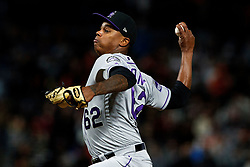 SAN FRANCISCO, CA - SEPTEMBER 15: Yency Almonte #62 of the Colorado Rockies pitches against the San Francisco Giants during the seventh inning at AT&T Park on September 15, 2018 in San Francisco, California. The San Francisco Giants defeated the Colorado Rockies 3-0. (Photo by Jason O. Watson/Getty Images) *** Local Caption *** Yency Almonte