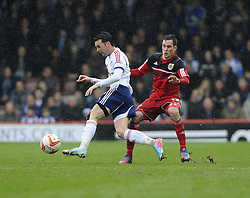 Bristol City's Greg Cunningham battles for the ball with Bolton Wanderers' Chris Eagles - Photo mandatory by-line: Joe Meredith/JMP - Tel: Mobile: 07966 386802 13/04/2013 - SPORT - FOOTBALL - Ashton Gate - Bristol - Bristol City V Bolton Wanderers - Npower Championship