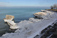 Images of a thawing lakefront taken from The Point Saturday.