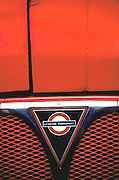 Close up hood of a London double-decker bus in England.