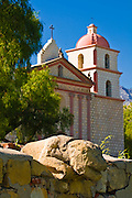 Stone figure on aquaduct at the Santa Barbara Mission (Queen of the missions), Santa Barbara, California