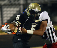 Truman's v #5 is pushed out of bounds by Tennent's Chris Francis while attempting a 2 point conversion in the first quarter Friday October 30, 2015 at Harry S. Truman High School in Levittown, Pennsylvania.  (Photo by William Thomas Cain)