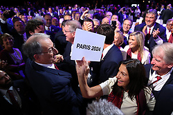 LIMA, Sept. 14, 2017  Members of Paris 2024 celebrate after announcement during the presentation and announcement ceremony of the 2024 and 2028 Summer Olympic Games at the 131st IOC session in Lima, Peru, on Sept. 13, 2017. The IOC makes historic decision by simultaneously awarding Olympic Games 2024 to Paris and 2028 to Los Angeles on wednesday. (Credit Image: © Li Ming/Xinhua via ZUMA Wire)