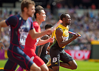 Athletics - 2017 IAAF London World Athletics Championships - Day Nine, Morning Session<br /> <br /> 4 x 100m Relay Men - Round 1<br /> <br /> Usain Bolt (Jamaica) heads down the home straight just in front of the field at the London Stadium<br /> <br /> COLORSPORT/DANIEL BEARHAM