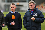 Newport Manager Michael Flynn and Glen Hoddle before the interview the BT Sporrt during the The FA Cup 4th round match between Newport County and Tottenham Hotspur at Rodney Parade, Newport, Wales on 27 January 2018. Photo by Gary Learmonth.