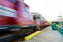 Scenic railroad at Weirs Beach in Laconia, New Hampshire.  Lake Winnipesauke.