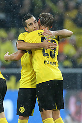 27.08.2015, Signal Iduna Park, Dortmund, GER, UEFA Euro Qualifikation, Borussia Dortmund vs Odd Grenland, Playoff, Rückspiel, im Bild v.l. Henrikh Mkhitaryan (Dortmund) und Lukasz Pisczczek (Dortmund) jubeln nach dem Tor zum 2:1 durch Henrikh Mkhitaryan (Dortmund) // during UEFA Europa League Playoff 2nd Leg match between Borussia Dortmund and Odd Grenland Signal Iduna Park in Dortmund, Germany on 2015/08/27. EXPA Pictures © 2015, PhotoCredit: EXPA/ Eibner-Pressefoto/ Hommes<br /> <br /> *****ATTENTION - OUT of GER*****