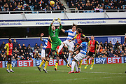 Birmingham City goalkeeper, Tomasz Kuszczak (29) battling for ball in crowded penalty area during the Sky Bet Championship match between Queens Park Rangers and Birmingham City at the Loftus Road Stadium, London, England on 27 February 2016. Photo by Matthew Redman.
