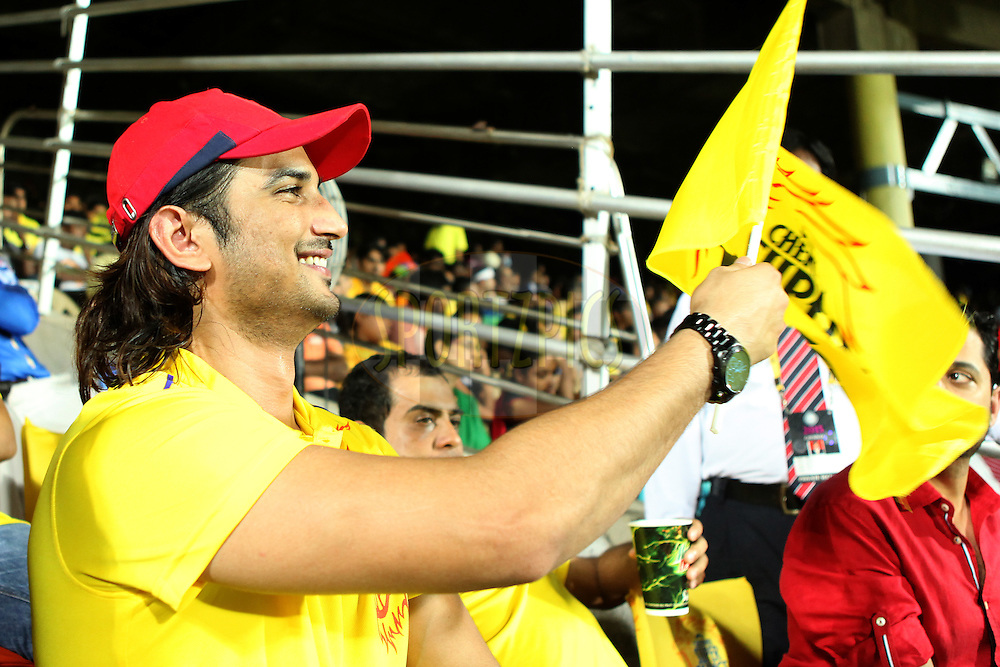 Bollywood actor Sushant Singh Rajput at gallery during match 47 of the Pepsi IPL 2015 (Indian Premier League) between The Chennai Superkings and The Rajasthan Royals held at the M. A. Chidambaram Stadium, Chennai Stadium in Chennai, India on the 10th May 2015.<br /> <br /> Photo by:  Saikat Das / SPORTZPICS / IPL