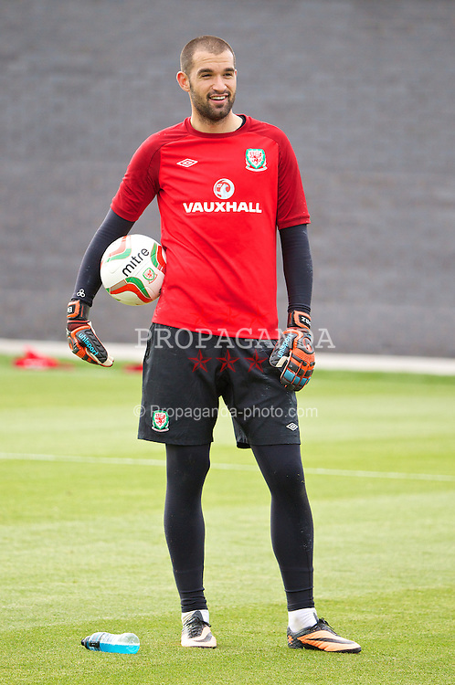NEWPORT, WALES - Monday, August 12, 2013: Wales' goalkeeper Boaz Myhill training at the FAW National Development Centre at Dragon Park ahead of the International friendly against the Republic of Ireland. (Pic by David Rawcliffe/Propaganda)