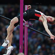 Derek Drouin, Canada, in action in the Men's High Jump Final at the Olympic Stadium, Olympic Park, during the London 2012 Olympic games. London, UK. 5th August 2012. Photo Tim Clayton