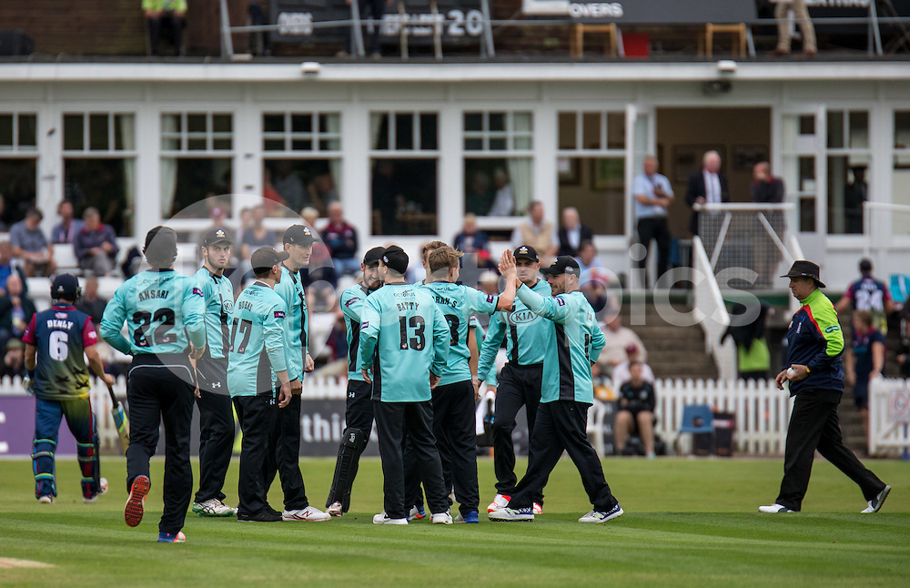 Surrey celebrate the Sam Curran of Surrey wicket of Joe Denly of Kent Spitfires during the NATWEST T20 BLAST match between Kent Spitfires and Surrey at The Nevill Ground, Tunbridge Wells, England on the 15th July 2016. Photo by Liam McAvoy.