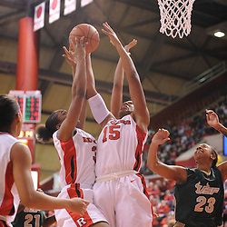 Jan 31, 2009; Piscataway, NJ, USA; Rutgers center Kia Vaughn (15) and forward Brooklyn Pope (32) reach for an offensive rebound during the second half of South Florida's 59-56 victory over Rutgers in NCAA women's college basketball at the Louis Brown Athletic Center