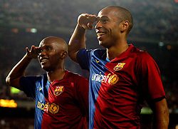 Thierry Henry and Samuel Etoo (Barcelona) salute crowd as last of the six goals goes in. Nou Camp, FC Barcelona v Malaga (6-0)  22/03/2009   La Liga.