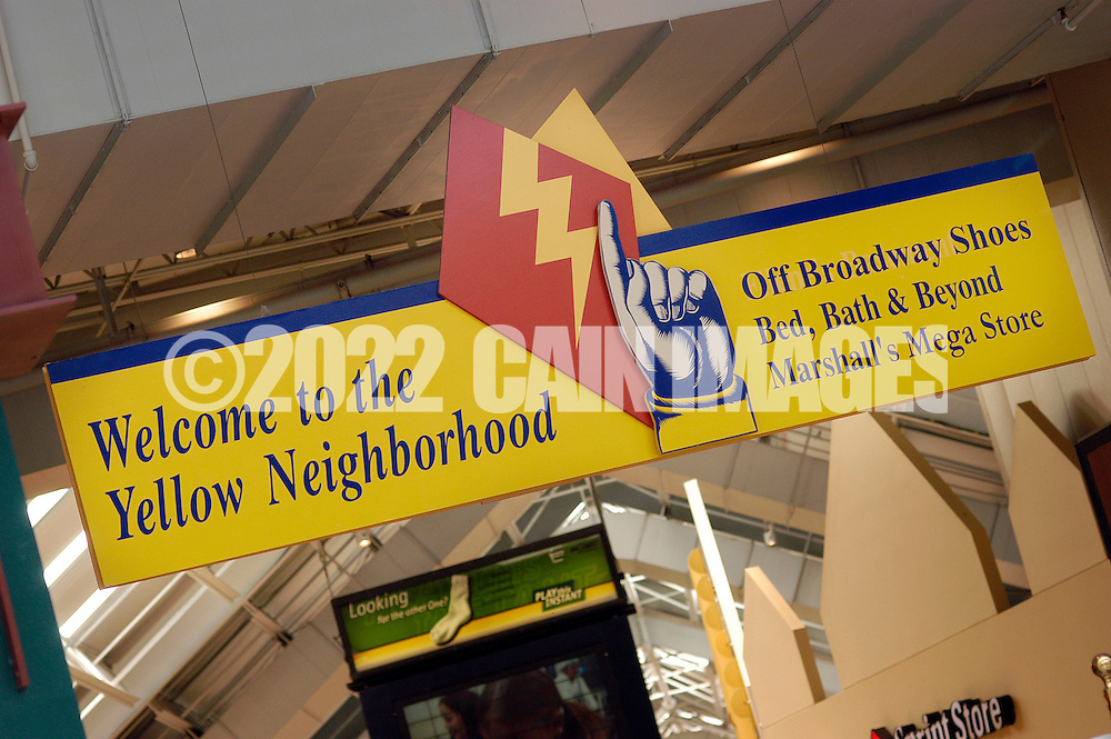PHILADELPHIA, PA - JUNE 15:  A sign at Franklin Mills Mall directs shoppers to the Yellow Neighborhood June 15, 2005 in Philadelphia, Pennsylvania. (Photo by William Thomas Cain)