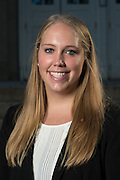 Elizabeth Fryman poses for a portrait in front of Ohio University's Memorial Auditorium as part of the College of Business's Emerging Leaders program on September 21, 2016.
